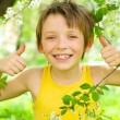 Portrait of a boy showing thumbs up — Stock Photo #24925703