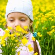 Stock Photo: Girl sniffing yellow flowers
