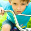 Stock Photo: Boy on bicycle