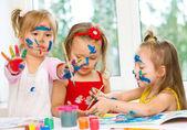 Girls drawing — Stock Photo