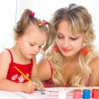 Stock Photo: Child with mother painting
