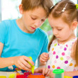 Children Playing with Play Dough — Stock Photo
