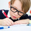 Schoolboy writing homework — Stock fotografie