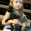 Child with cats — Stock Photo