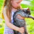 Child with cat — Stock fotografie