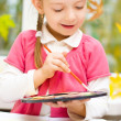 Kid painting — Stock Photo