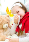 Child blowing nose — Stock Photo