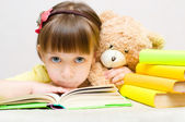 Kid with book — Stockfoto