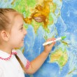 Kid by world map — Foto Stock