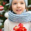 Stock Photo: Child with gift box