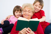 Grandmother reading — Stock Photo