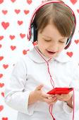 Kid listening to the music — Photo