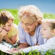 Grandmother reading book to grandchildren outdoors — Stock Photo #48108919