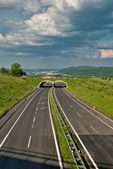 Empty asphalt highway with ecoduct — Stock Photo