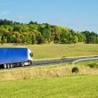 Autumn landscape with road and truck — Stock Photo #35199267