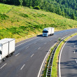 Highway with three oncoming white truck in a wooded landscape — Foto Stock