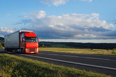 Rural landscape with road and moving red truck — Stock Photo