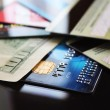 Credit cards and banknote (macro) — Stock Photo