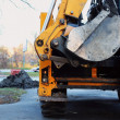 Stock Photo: Excavator rear view with bucket