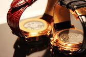 Backside of two golden luxury wristwatches — Stock Photo