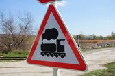 Train warning sign — Stock Photo