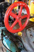 Gas gate valve red hand-wheel — Стоковое фото
