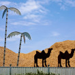 Clipped camel silhouettes and metal palms at sawdust storage fen — Stock Photo