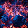 Burning campfire embers (hot coal) — Stock Photo