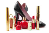 Lady shoes and cosmetics — Stockfoto