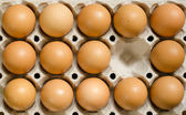 Tray of brown eggs — Stock Photo