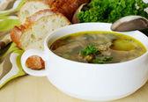 Soppa med köttbullar till middag — Stockfoto