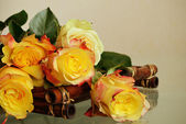 Roses on a bamboo tray — Stock Photo
