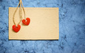 Two hearts on a card — Stock Photo