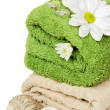 Stock Photo: Towel and daisies for relaxation
