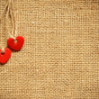 Two hearts on canvas — Stock Photo #24273701