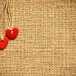 Two hearts on canvas - Stock Photo