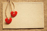Two hearts on a cardboard — Stock Photo