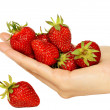 Handful of ripe strawberries — Stock Photo