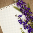 Note and flowers — Stock Photo