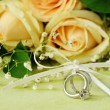 Wedding and engagement rings — Stock Photo