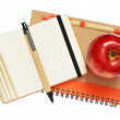 Notebooks, pens and apple — Stock Photo #30156243