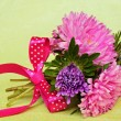 Bouquet of asters with bow — Stock Photo