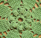 Green crochet background — Stok fotoğraf