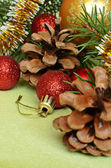 Christmas tree branch with decorations — Стоковое фото