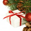 Christmas gift and holiday decorations — Stock Photo