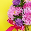 Asters on yellow background — Stock Photo
