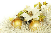 Christmas balls with tinsel and poinsettia — Foto Stock