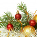 Christmas tree with balls and tinsel — Stock Photo