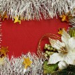 Frame of white tinsel and poinsettia — Stock Photo #32270859