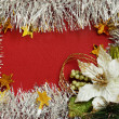 Frame of white tinsel and poinsettia — Stock Photo